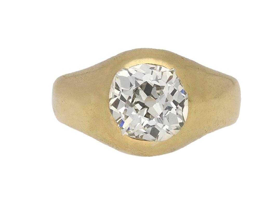 Cushion shape old mine diamond ring berganza hatton garden