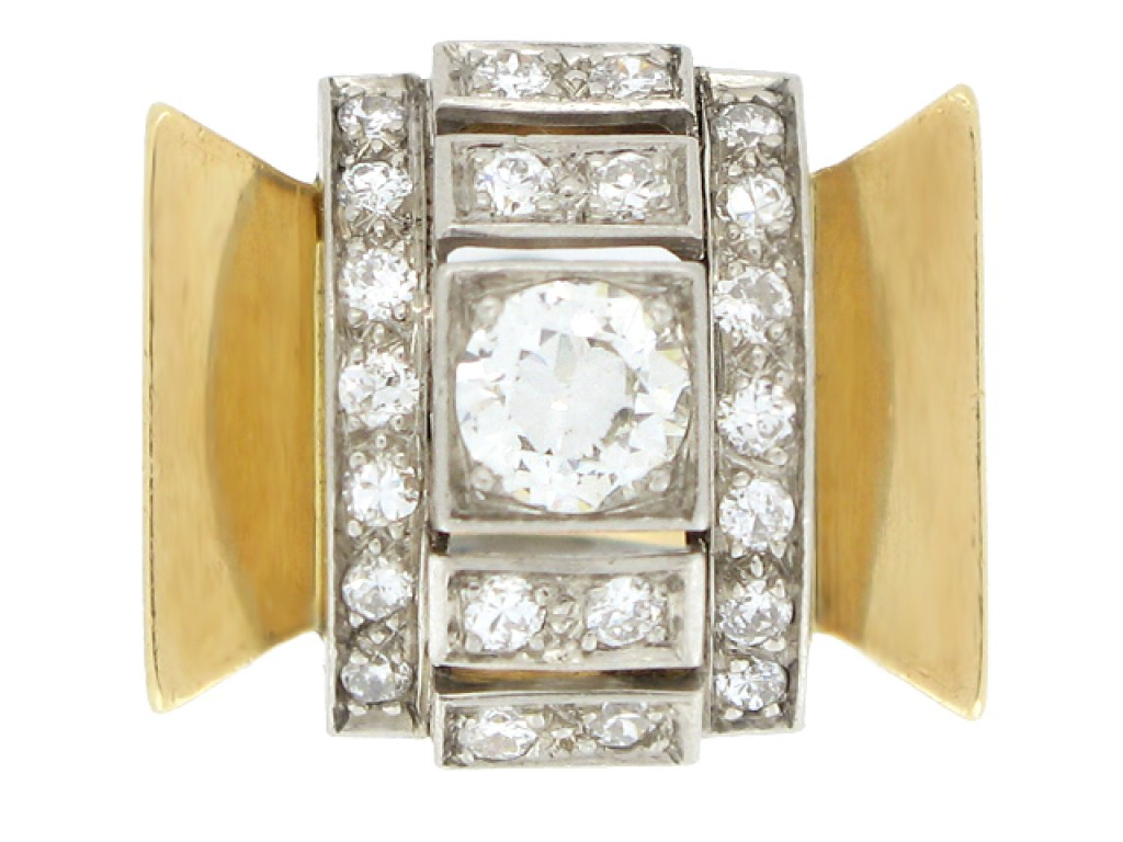 front view Diamond cocktail ring, circa 1940.