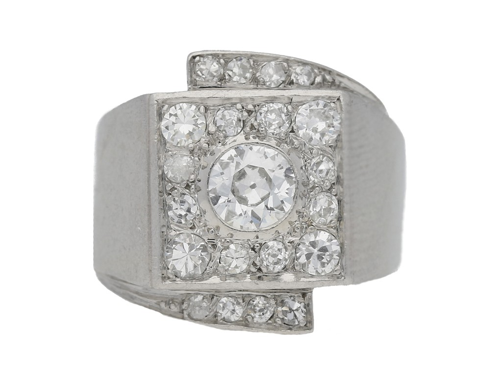 front view art deco cocktail diamond ring hatton garden berganza