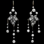 Old mine diamond girandole earrings, circa 1880.
