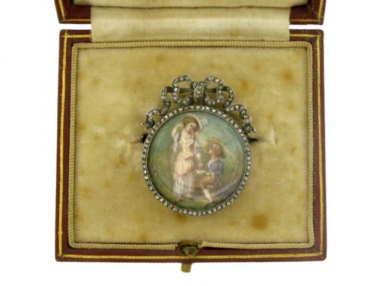 boxed view Antique miniature and rose diamond brooch, French circa 1800.