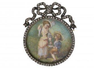 Georgian miniature and diamond brooch berganza hatton garden