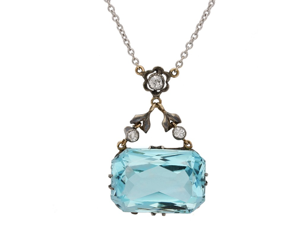 antique diamond aquamarine pendant hatton garden berganza