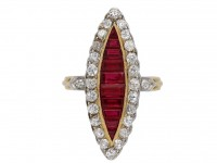 Ruby and diamond marquise cluster ring berganza hatton garden