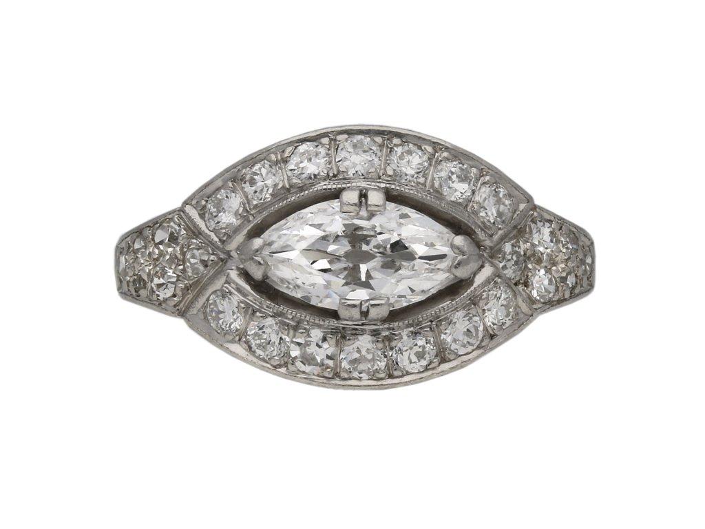 Art Deco marquise diamond cluster ring berganza hatton garden