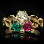 Antique emerald, ruby and diamond ring, circa 1890.