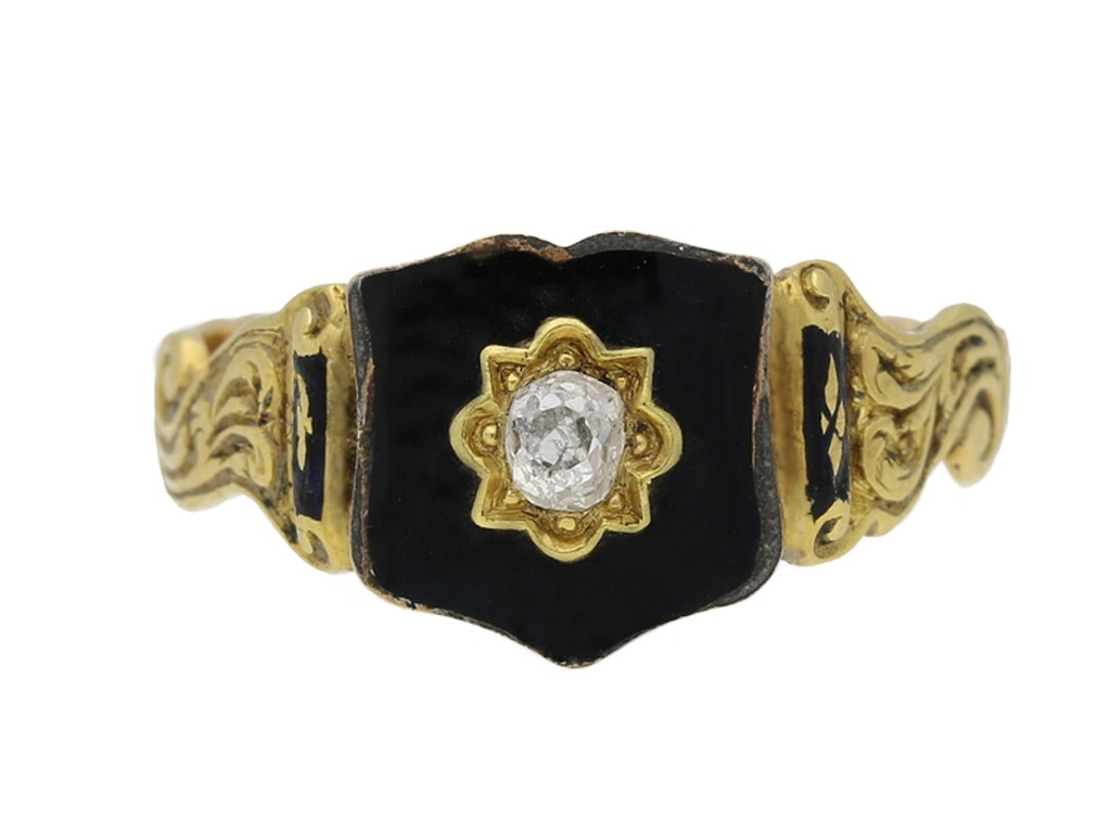 Antique old mine diamond and black enamel memorial ring, circa 1862 berganza hatton garden