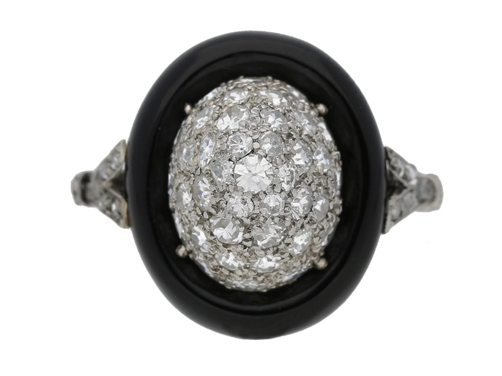 front view antique onyx diamond ring hatton garden berganza