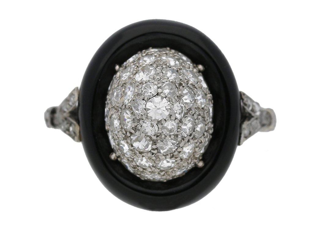 front view antique onyx diamond ring hatton garden berganza