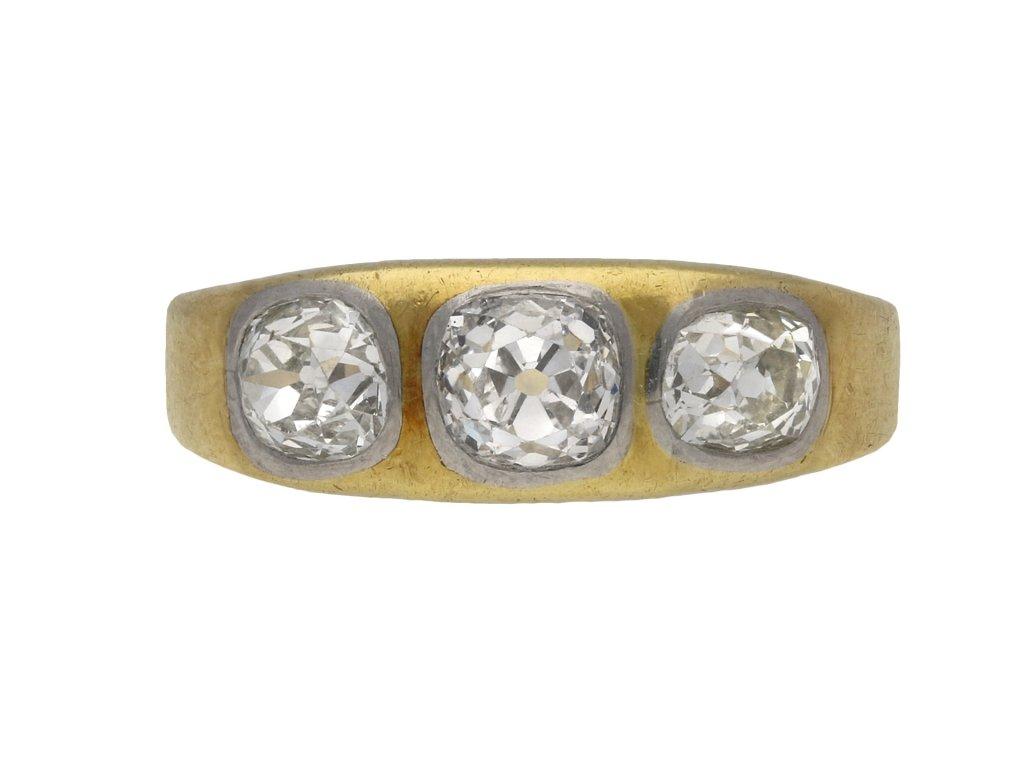 Antique three stone diamond gypsy ring berganza hatton garden