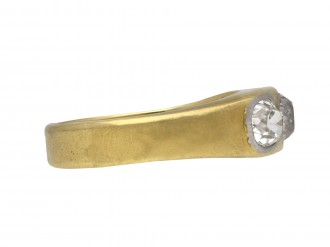 Antique three stone diamond gypsy ring berganza hatton garden