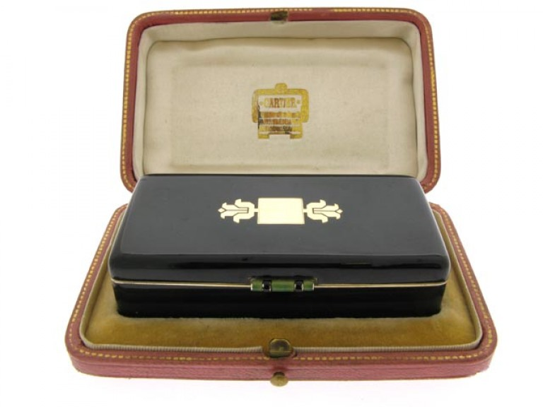 boxed view Cartier enamelled silver gilt box
