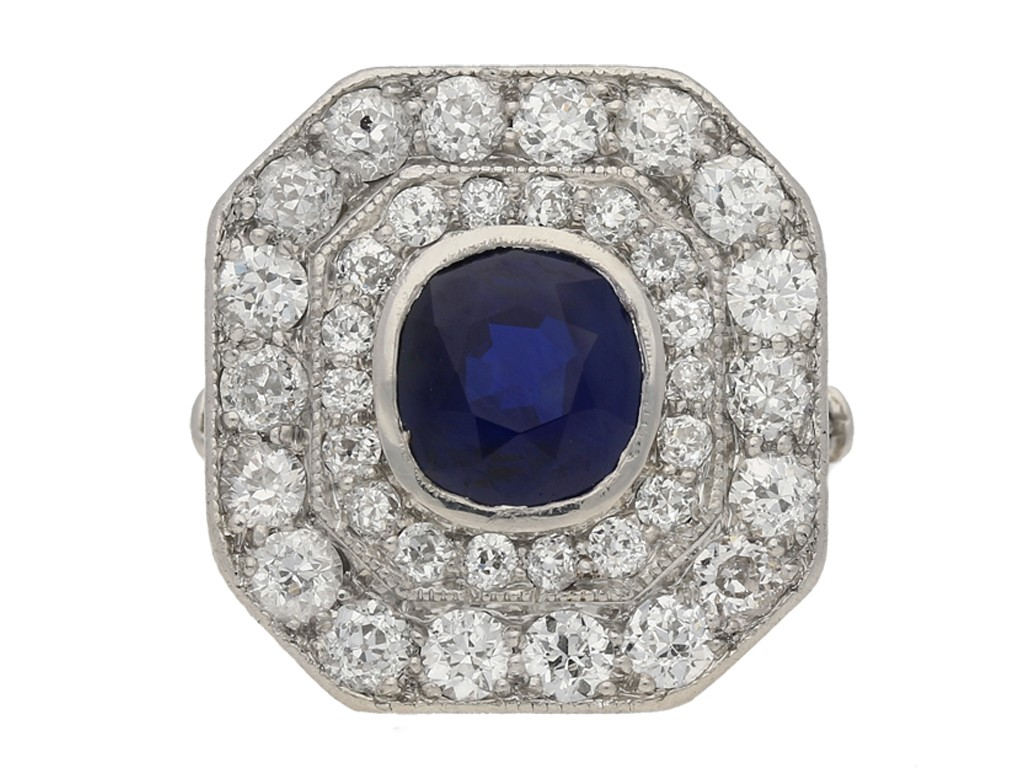 Sapphire and diamond coronet cluster ring, circa 1910. berganza hatton garden