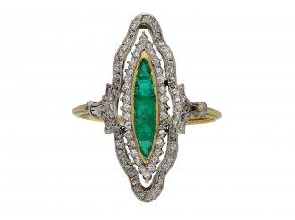 Antique emerald and diamond ring berganza hatton garden