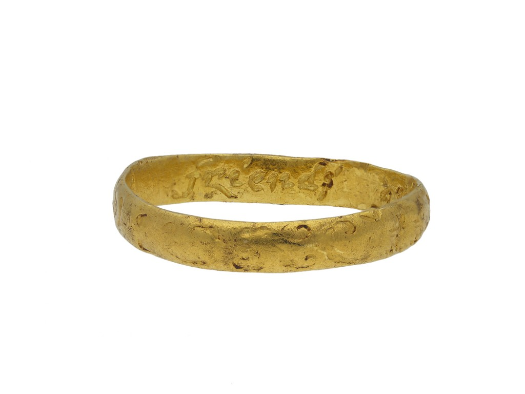Engraved gold posy ring 'A friends gift hatton garden