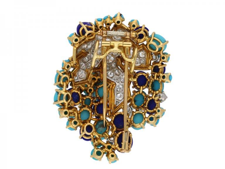 Boucheron turquoise, lapis diamond brooch berganza hatton garden