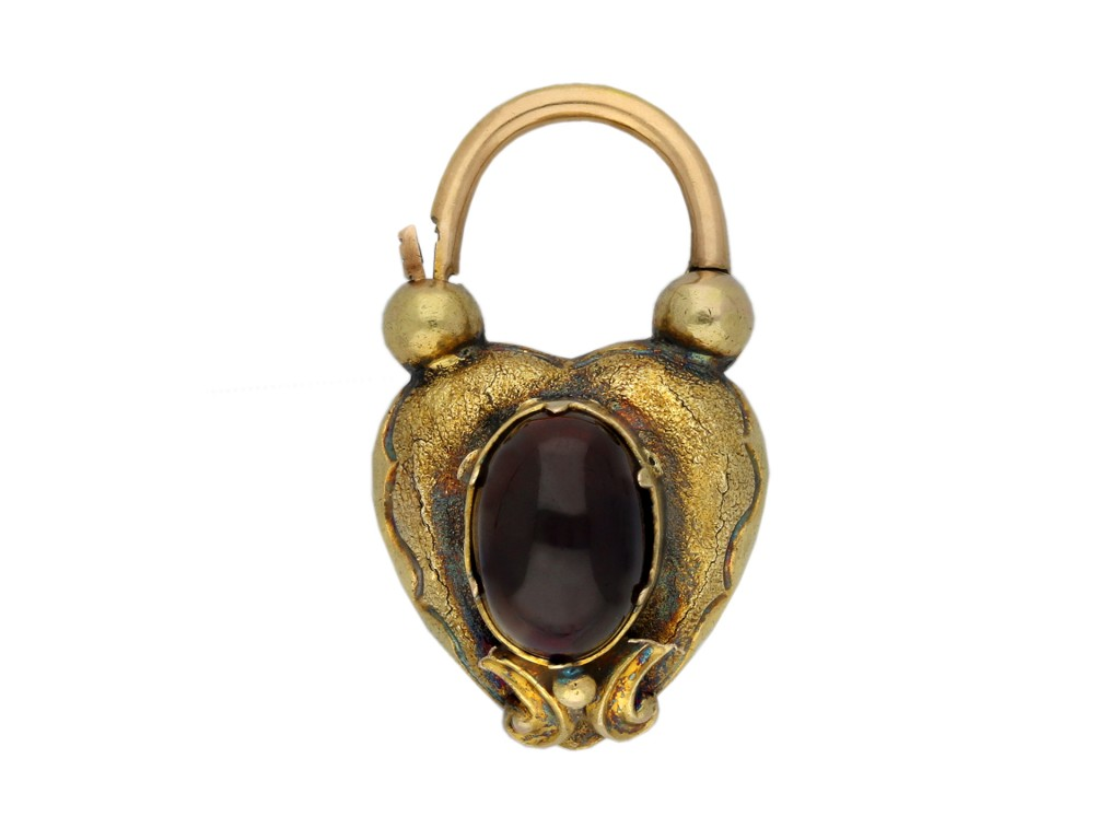 Antique padlock set with garnet and hair berganza hatton garden
