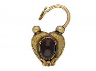 Antique padlock set with garnet and hair berganza hatton garden