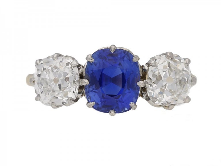 Kashmir sapphire diamond three stone ring berganza hatton garden
