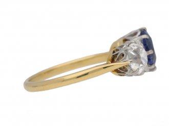 Kashmir sapphire diamond three stone ring berganza hatton garden