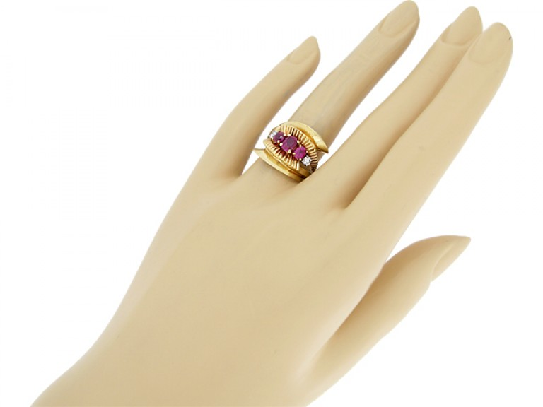 hand view J. E. Caldwell ruby and diamond cocktail ring