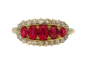 Antique five ruby and diamond cluster ring berganza hatton garden