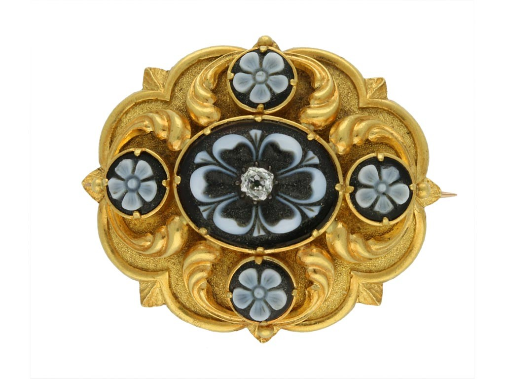 Antique onyx and diamond Brooch berganza hatton garden