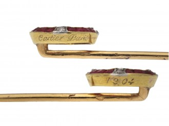 Cartier ruby and diamond winning post pin, berganza hatton garden