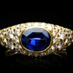 Vintage sapphire and diamond ring, circa 1970.