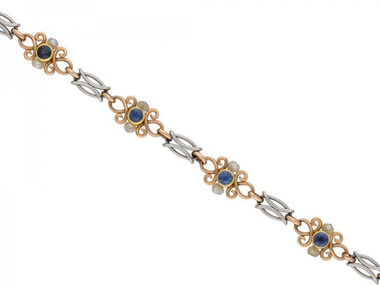 Sapphire and Natural Pearl Bracelet berganza hatton garden