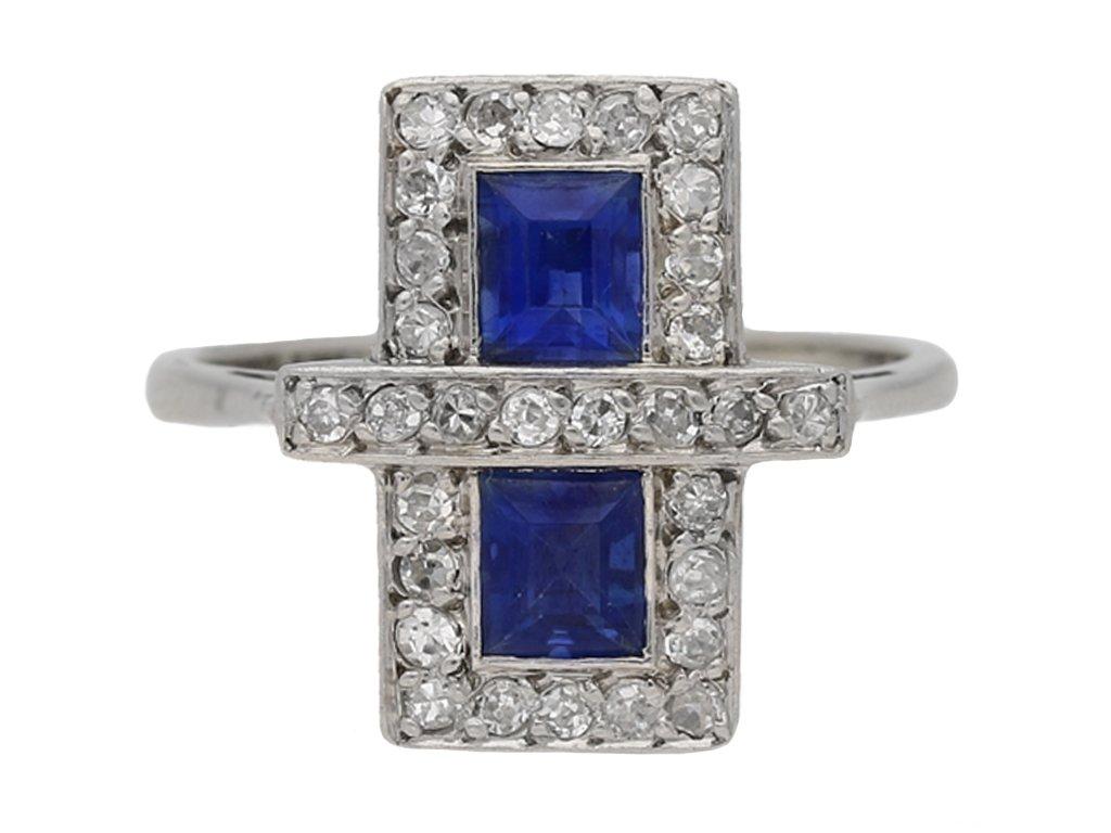 front view Art Deco sapphire and diamond ring, circa 1925 hatton garden berganza