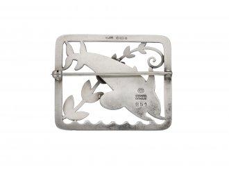 Silver Dolphin Brooch George Jensen berganza hatton garden