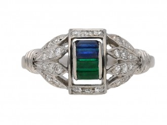Art Deco sapphire, emerald diamond ring berganza hatton garden