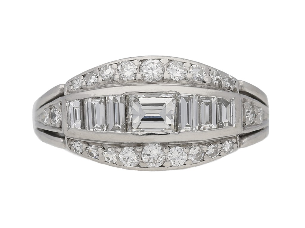 Baguette round diamond ring berganza hatton garden