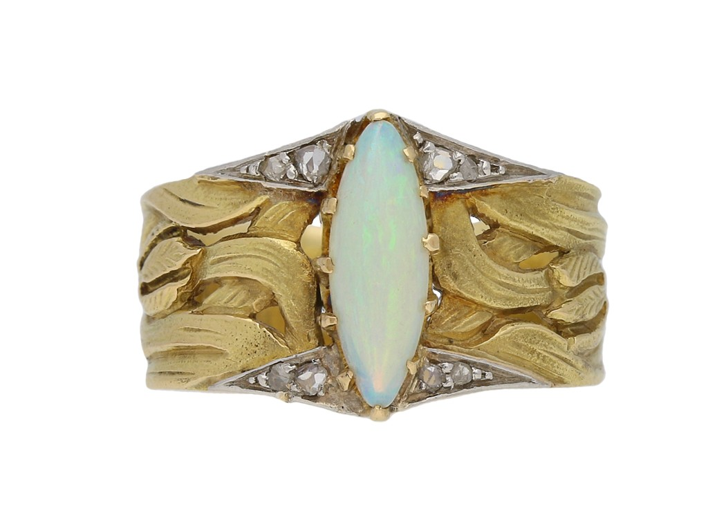 Art Nouveau opal and diamond ring berganza hatton garden