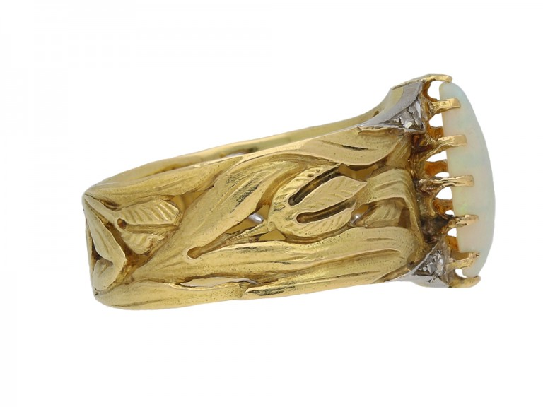 Art Nouveau opal and diamond ring berganza hatton garden