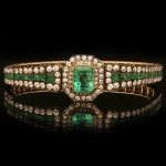 Victorian emerald and diamond bracelet, circa 1880.
