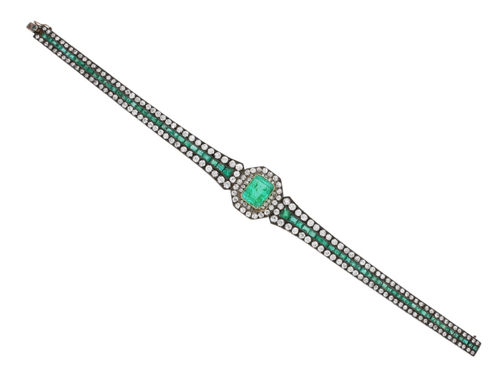 Antique emerald and diamond bracelet berganza hatton garden