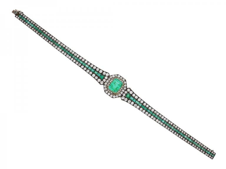 Antique emerald and diamond bracelet berganza hatton garden