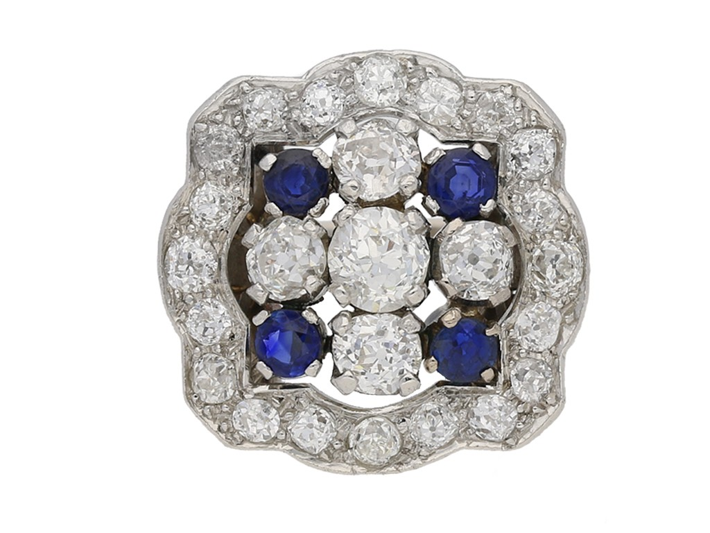front view Sapphire and diamond cluster ring, circa 1935. berganza hatton garden