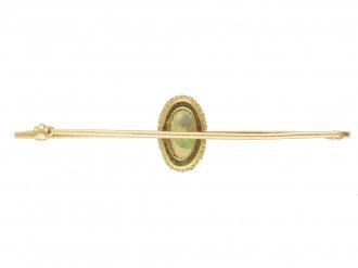 Opal and diamond brooch yellow gold berganza hatton garden