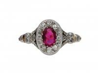 Victorian ruby and diamond cluster ring berganza hatton garden