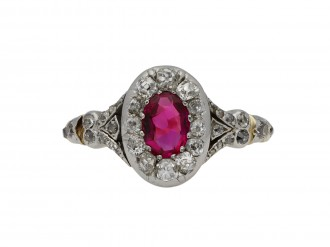 Victorian ruby and diamond cluster ring berganza hatton garden