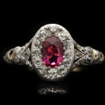 Victorian ruby and diamond coronet cluster ring, circa 1850.