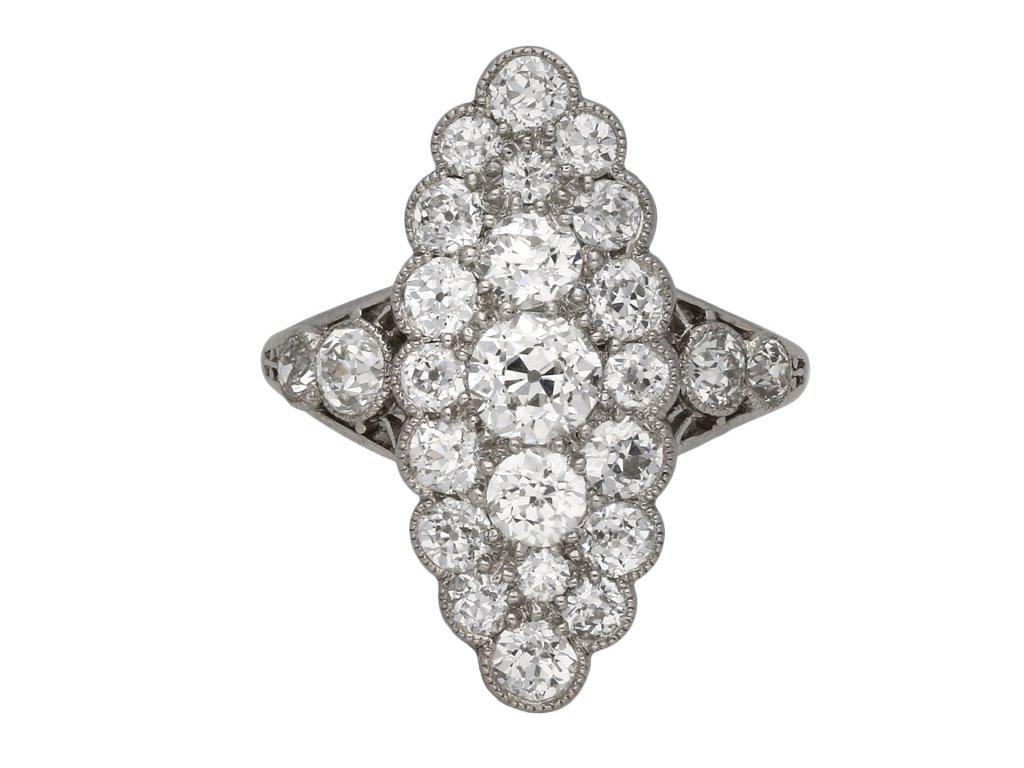Edwardian marquise diamond cluster ring berganza hatton garden