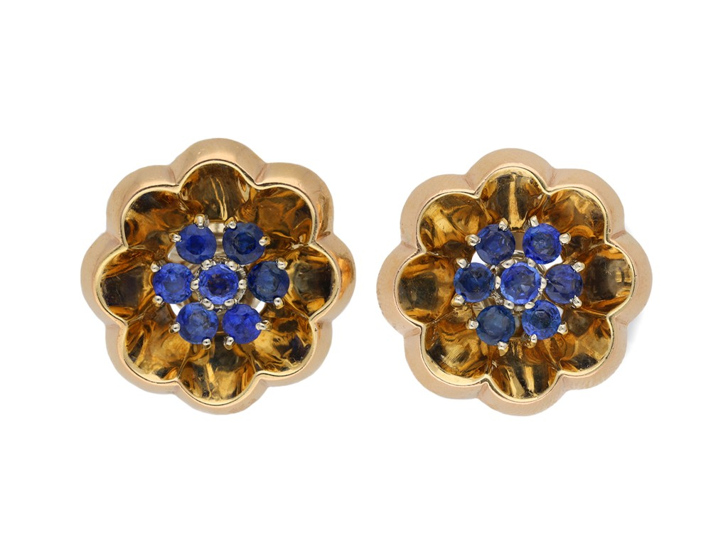 J. E. Caldwell sapphire clip on earrings berganza hatton garden