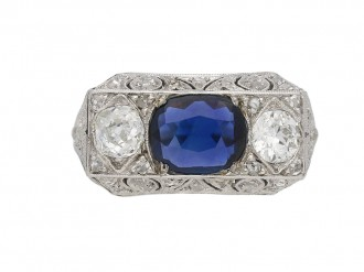 Ornate sapphire diamond three stone ring berganza hatton garden