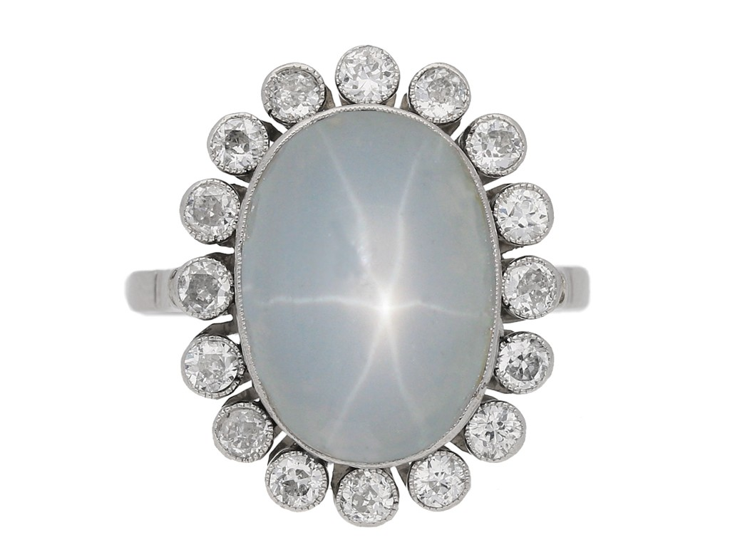 Star sapphire and diamond coronet cluster ring, circa 1920. berganza hatton garden
