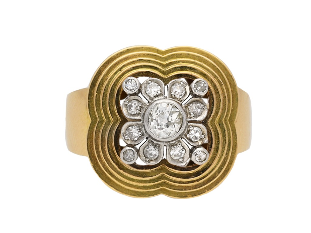 Diamond cocktail ring, circa 1945 berganza hatton garden