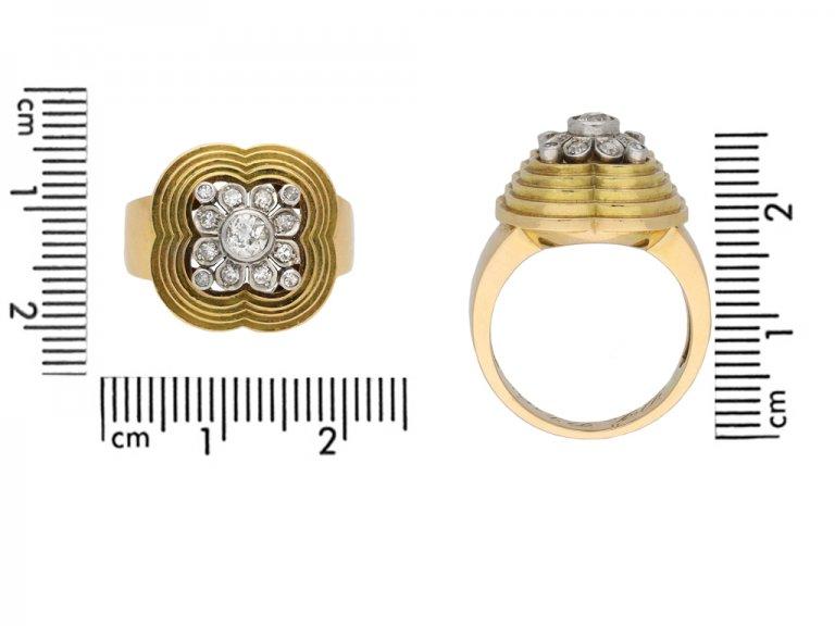 Diamond cocktail ring, circa 1945 berganza hatton garden